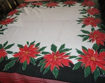 Vintage Vera Neumann Poinsettia Christmas Holiday Tablecloth 50 inches Square