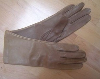 New Womens Vintage STETSON Light Mocha Leather Gloves 6.5
