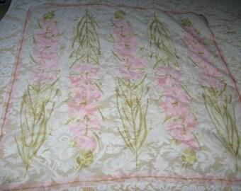 Vintage 60s Vera Neumann Ladybug Sheer Silk Blend Floral Motif Scarf
