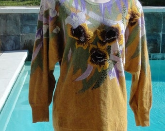 Vintage 80s Vivien Forest Bejeweled Embroidered Floral Angora Blend Sweater M