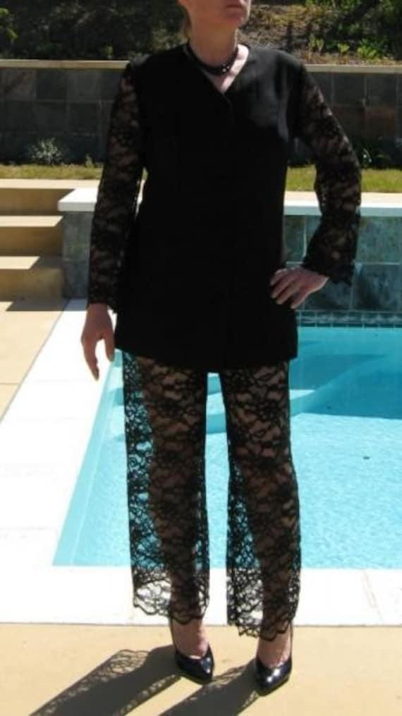 Vintage 60s Black Sheer Lace Pants Jacket Suit Outfit M