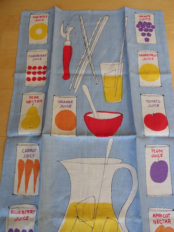 NWOT Vintage 60s Vera Neumann Ladybug Signature Fruit Juice Linen Tea Towel
