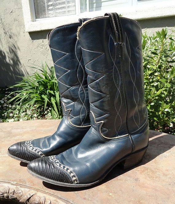 Vintage TONY LAMA  Navy Blue Lizard Wing Tip Cowgirl Cowboy Boots sz 8