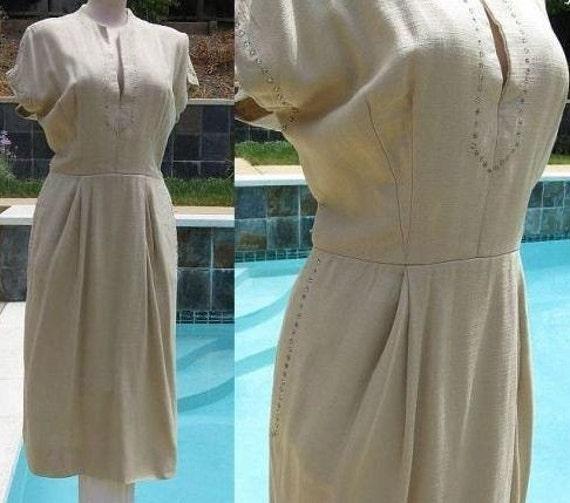 Vintage 50's Wheat Linen Rhinestone Studded Dress B38