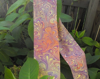 "Hand Marbled China Silk Scarf ""Just Enough"" Long  ""Its Spring all Year"""