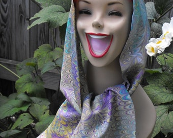 Hand Marbled China Silk Two Sided Long Scarf Jewel Tones With Black