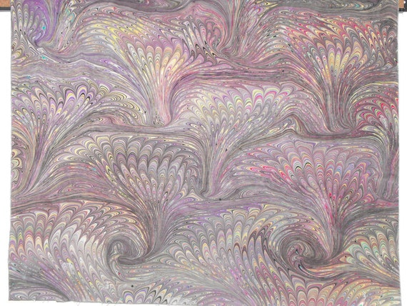 Irregular Hand Marbled Pima Cotton Fat Quarter in Large Tight Bouqets in Black with bits of Multi Color