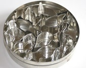 Tin of 10 Animal Shape Cookie Cutters Italian for Cooking or Altered Art