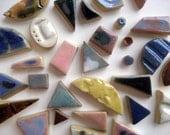 Grab Bag of 25 Random Colorful Handmade Ceramic Tiles