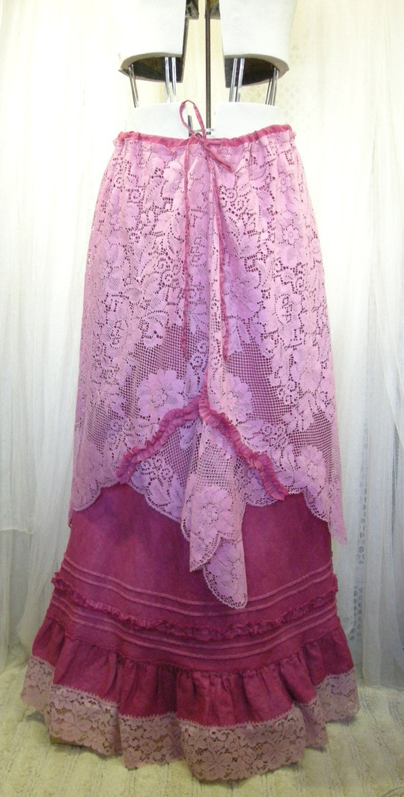 RESERVED for Lenore Hitchler  Raspberry Pink Hand Dyed Long Cotton Skirt with Vintage Lace and Ruffles Added