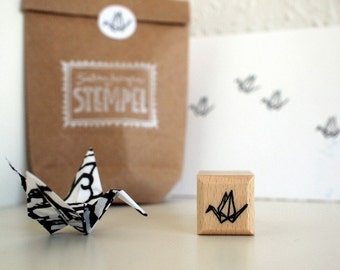 CHARITY rubberstamp - papercrane - 2x2cm - by SiebenMorgen