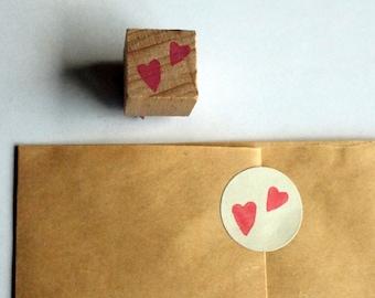 little hearts - mini rubberstamp - 15x15mm