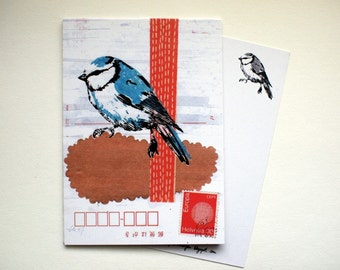 3 postcards - blue tit - A6 - 100% ECO recycled paper - by SiebenMorgen