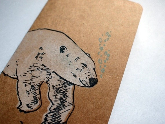 polar bear- handprinted moleskine notebook - small