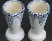 set of two violet and white crackle shot glasses