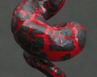 squiggly organic neon red and black crackle ceramic pendant