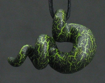 squiggly organic kiwi green and black crackle ceramic pendant