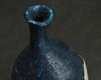 white, turquoise blue, and black crackle fusion bud vase/weed pot