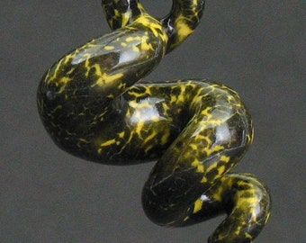 squiggly organic swirl neon yellow and black spotted ceramic pendant