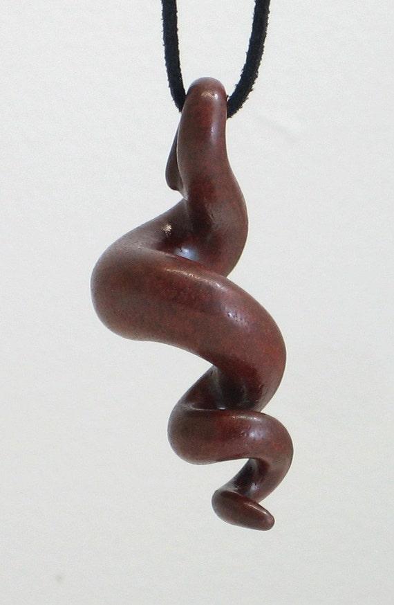 squiggly organic burgundy ceramic pendant