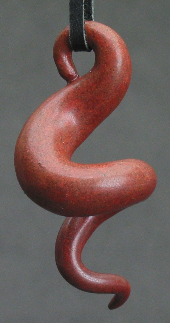 squiggly swirl organic burgundy/rust ceramic pendant