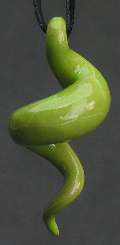 squiggly swirl organic kiwi green ceramic pendant