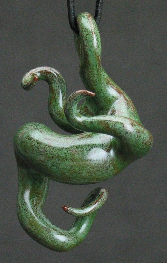 squiggly organic antique green ceramic pendant