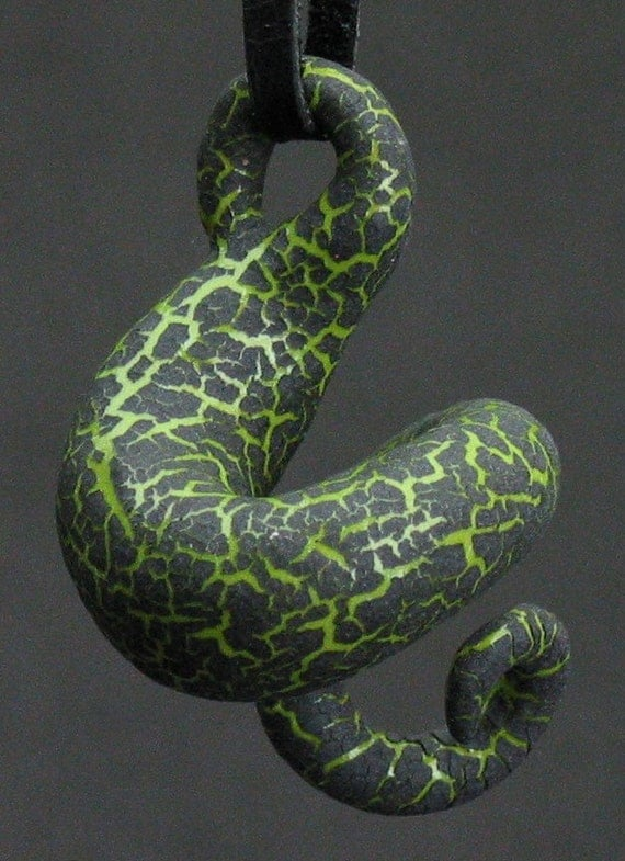 squiggly organic kiwi green and black crackle ceramic pendant