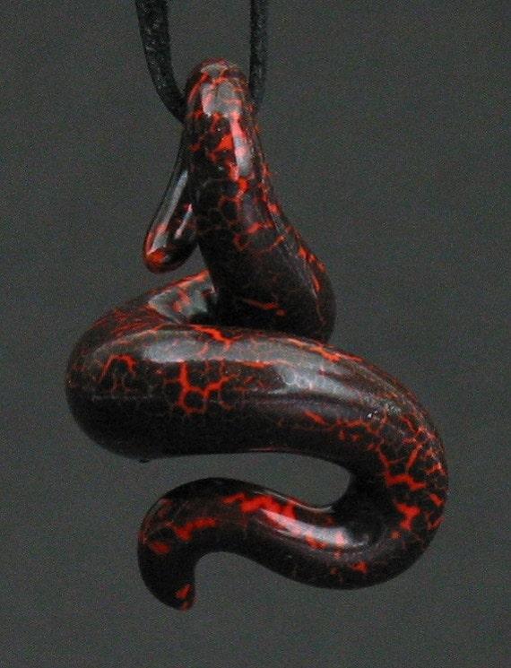 squiggly organic neon orange and black crackle ceramic pendant