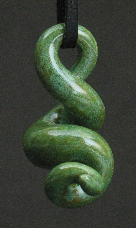 squiggly organic antique green ceramic pendant
