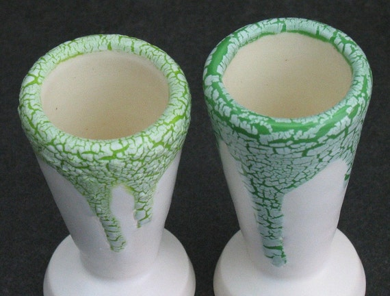 set of two bright and kiwi green and white crackle shot glasses
