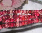 Bastet's Beads- Destash 71/2 Inch Strand Magenta Red Sea Sediment Jasper Rondells 3x5mm