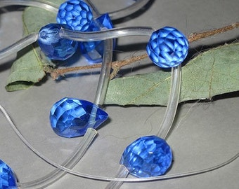 Bastet's Beads-  4 Sapphire Blue Glass Teardrop Briolette 7x11mm