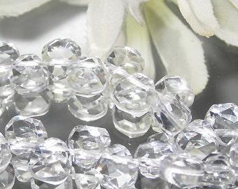 Bastet's Beads-  Clear Rock Quartz Crystal Facet Teardrop Briolette 7x7mm