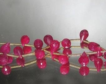 Bastet's Beads-  2 Raspberry Red Ruby Facet teardrop Briolette 6x9mm