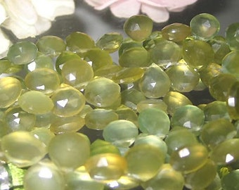 Deep Lime Juice Olive Green Chalcedony - 2 Facet Heart Briolette 9-10mm- Bastet's Beads-