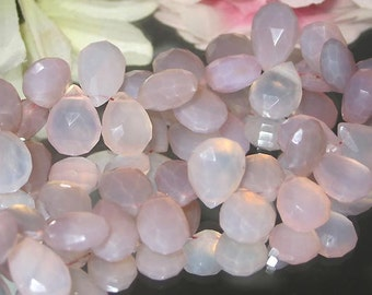 2 Lilac Pink Chalcedony Facet Flat Pear Briolette 9x13-10x14mm- Bastet's Beads-