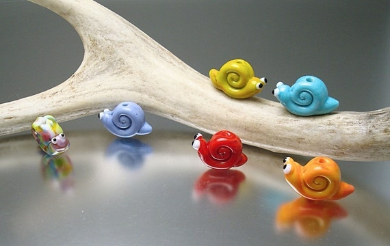 Loribeads - Snails- handmade glass lampwork beads