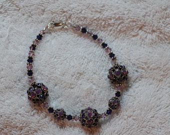 Purple and PInk Crystal Ball Bracelet