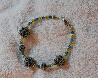 Green and Yellow Crystal Ball Bracelet