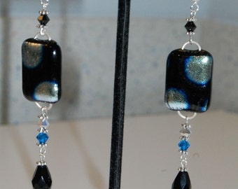 Fused Dichroic Glass Polka-Dot Earrings