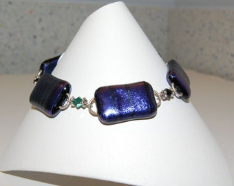Purple Striped Fused Dichroic Glass Bracelet