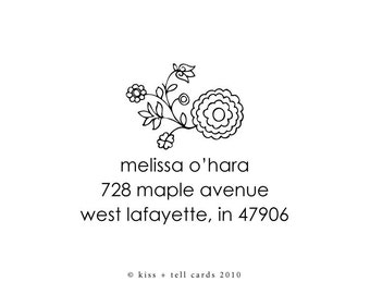 floral swirl rubber address stamp