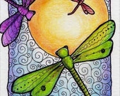 Dragonflies in the Sun ATC ACEO Print