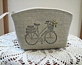 Linen Clutch Cosmetic Bag  Purse Retro Bicycle Hand Embroidery