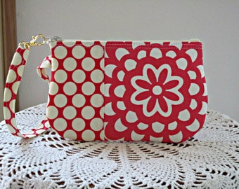 Smart Phone Case Wristlet  Clutch Gadget Purse Bag in Cherry Wall Flower