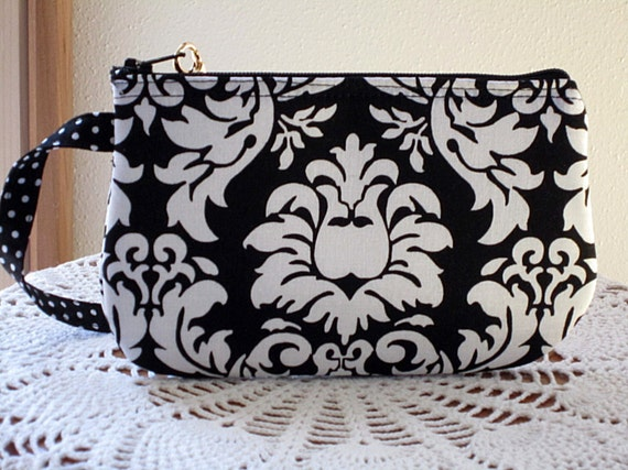 Wristlet Zipper Gadget Purse Pouch in Black and White Damask