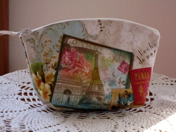 Cosmetic Bag Clutch Purse Paris Souvenir Postcard Art Nouveau