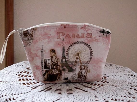 Cosmetic Bag Clutch Zipper Purse Scenes of Paris
