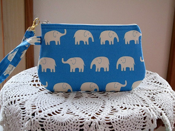Clutch Wristlet Zipper Gadget Pouch White Elephants on Parade